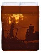 Sunset Female Amish Farmer Duvet Cover