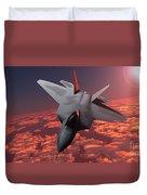Sunset Fire F22 Fighter Jet Duvet Cover