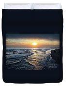 Sunset From Newport Beach Pier Duvet Cover