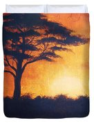 Sunset In Africa In Bright Orange Tones With A Tree Silhouette Beautiful Colorful Painting Duvet Cover