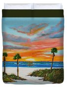 Sunset In Paradise Duvet Cover by Lloyd Dobson