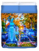 Sunset In Pere Lachaise Abstraction Duvet Cover