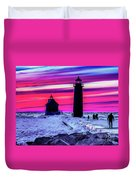 Sunset In Winter At Grand Haven Lighthouse Duvet Cover