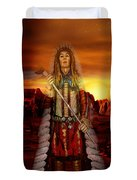 Sunset Indian Chief Duvet Cover