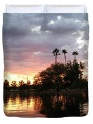 Sunset Island In Chaparral Lake Horizontal  Duvet Cover