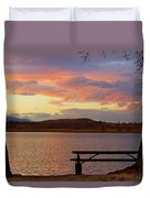 Sunset Lake Picnic Table View  Duvet Cover