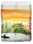 Sunset On A Lake Duvet Cover