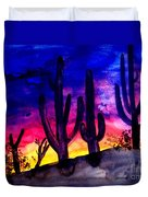 Sunset On Cactus Duvet Cover