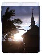 Sunset On Kona Church  Duvet Cover