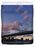 Sunset On Manhattan Bridge Duvet Cover by Dick Wood