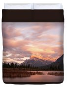 Sunset On Mount Rundle Duvet Cover