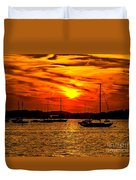 Sunset On Muskegon Lake Duvet Cover