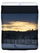 Sunset On Sabattus Lake Duvet Cover