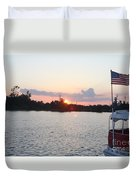 Sunset On The Cape Fear River North Carolina Duvet Cover