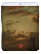 Sunset On The Coast 1870 Duvet Cover