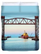 Sunset On The Port Of Chicago Waterfront Duvet Cover
