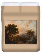 Sunset On The Rhine , Barend Cornelis Koekkoek Duvet Cover