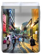 Sunset On The Streets Of Seoul Duvet Cover