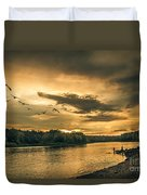 Sunset On The Willamette River Duvet Cover