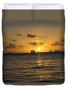 Sunset On Two Masts  Duvet Cover