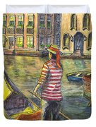 Sunset On Venice - The Gondolier Duvet Cover