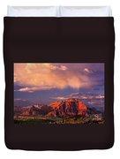 Sunset On West Temple Zion National Park Duvet Cover