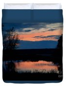 Sunset On Willow Pond Duvet Cover