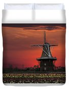 Sunset On Windmill Island Duvet Cover