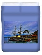 Sunset Over A Tall Ship Duvet Cover