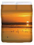 Sunset Over Arcata Marsh, With Avocets Duvet Cover