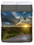 Sunset Over Badlands Np Yellow Mounds Overlook Duvet Cover