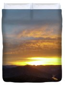 Sunset Over Black Canyon And River #1 Duvet Cover