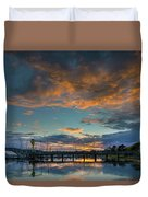 Sunset Over Boat Ramp At Anacortes Marina Duvet Cover