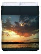 Sunset Over Bridgeport Lake Duvet Cover