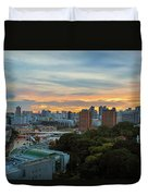 Sunset Over Clarke Quay And Fort Canning Park Duvet Cover