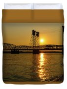Sunset Over Columbia Crossing I-5 Bridge Duvet Cover