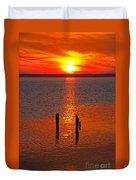 Sunset Over Currituck Sound Duvet Cover