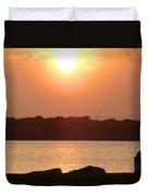 Sunset Over Galveston Bay Duvet Cover