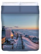 sunset over Igloos - Greenland Duvet Cover
