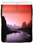 Sunset Over Li River Duvet Cover