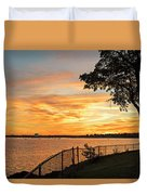 Sunset Over Lynch Park Beverly Ma Water Tower Duvet Cover