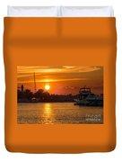 Sunset Over Marina Duvet Cover