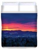 Sunset Over Marquam Hill Duvet Cover