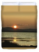Sunset Over Mountains And Water Duvet Cover