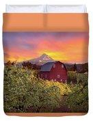 Sunset Over Mt Hood And Red Barn Duvet Cover