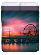 Sunset Over National Harbor Ferris Wheel Duvet Cover