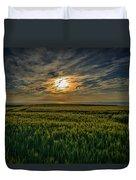 Sunset Over North Pas De Calais In France Duvet Cover