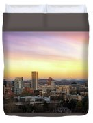 Sunset Over Portland Cityscape And Mt Hood Duvet Cover