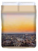 Sunset Over Portland Cityscape And Mt Saint Helens Duvet Cover