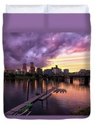 Sunset Over Portland Oregon Downtown Waterfront Duvet Cover